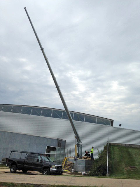 ARE AFS 1100 ballasted temporary or permanent tower system installed at Kinnick Stadium