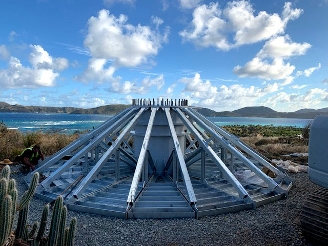 80 ft. tower base being assembled for Richard Branson on Necker Island - British Virgin Islands