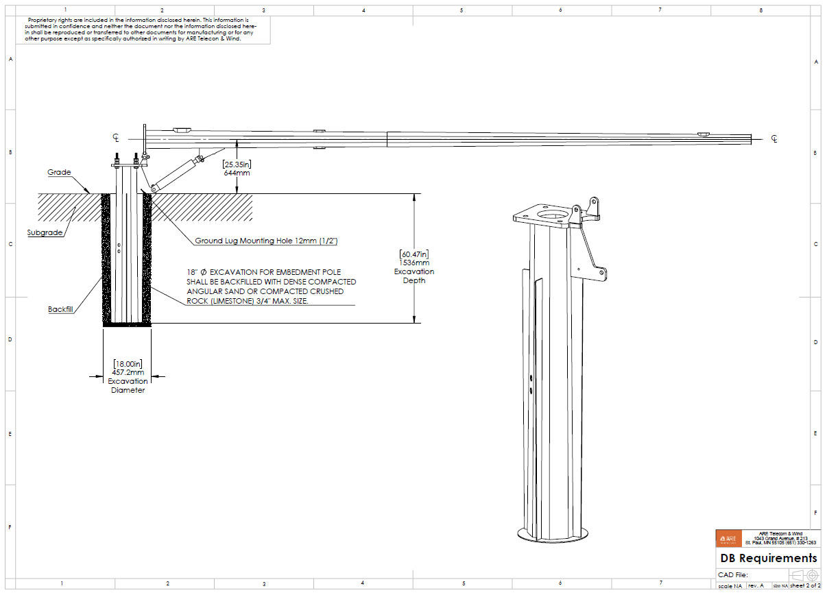 25' Direct Embedment Hydraulic Lift Pole System